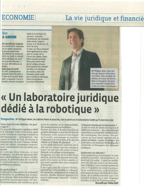LE PROGRES - 7 février 2012 - Un laboratoire juridique dédié à la robotique