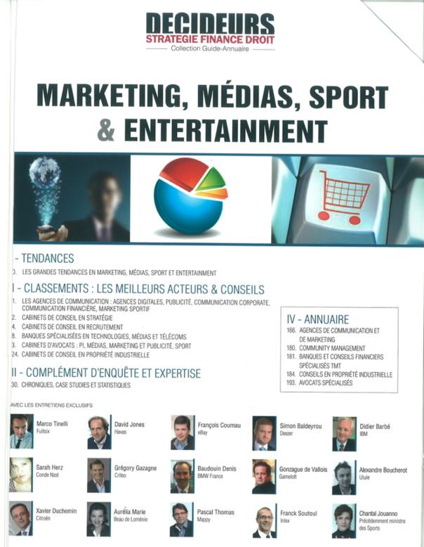 DECIDEURS 2012 - VEBER ASSOCIES parmi les meilleurs cabinets spécialisés en Marketing, Sport, Médias et Entertainment