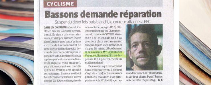 L'EQUIPE - 13 novembre 2013 - Bassons demande réparation